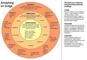 Analysing an Image CONTEXT Understanding the wider context