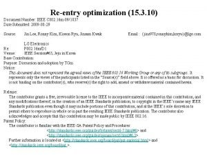 Reentry optimization 15 3 10 Document Number IEEE