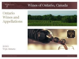 Wines of Ontario Canada Ontario Wines and Appellations
