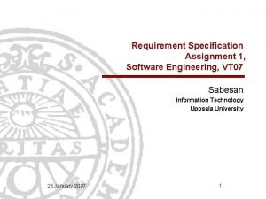 Requirement Specification Assignment 1 Software Engineering VT 07