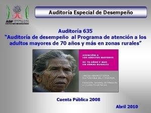 Auditora Especial de Desempeo Auditora 635 Auditora de