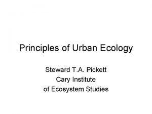 Principles of Urban Ecology Steward T A Pickett