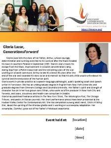 https hhrecny org Gloria Lazar Generations Forward Gloria