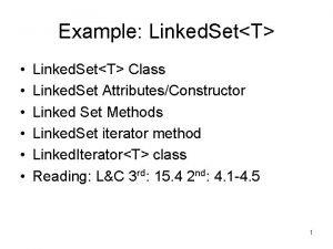 Example Linked SetT Linked SetT Class Linked Set