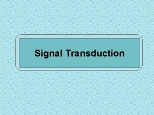 Signal Transduction Signal Transduction Old terms Signal transmission