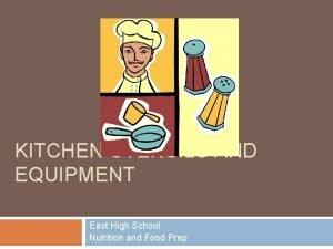 KITCHEN UTENSILS AND EQUIPMENT East High School Nutrition