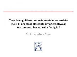 Terapia cognitivo comportamentale potenziata CBTE per gli adolescenti