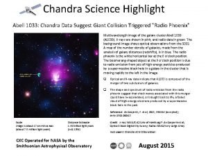 Chandra Science Highlight Abell 1033 Chandra Data Suggest