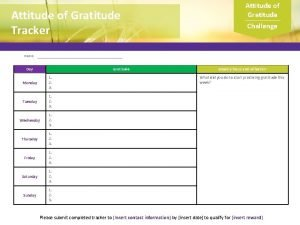 Attitude of Gratitude Tracker Attitude of Gratitude Challenge