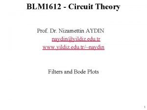 BLM 1612 Circuit Theory Prof Dr Nizamettin AYDIN