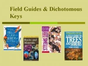 Field Guides Dichotomous Keys Identifying Organisms How do