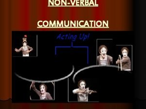 NONVERBAL COMMUNICATION What Is NonVerbal Communication l Nonverbal
