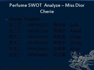 Perfume SWOT Analyze Miss Dior Cherie Group Member