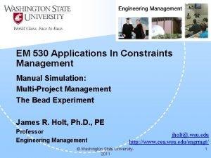 EM 530 Applications In Constraints Management Manual Simulation