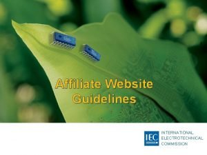 Affiliate Website Guidelines INTERNATIONAL ELECTROTECHNICAL COMMISSION IEC Website