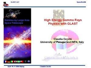 GLAST LAT Gammaray Large Area Space Telescope Space