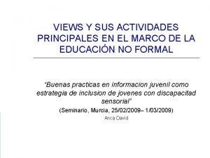 VIEWS Y SUS ACTIVIDADES PRINCIPALES EN EL MARCO