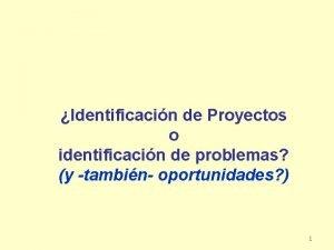 Identificacin de Proyectos o identificacin de problemas y