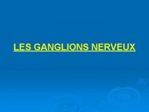 LES GANGLIONS NERVEUX LES GANGLIONS NERVEUX Introduction Les