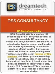 DSS CONSULTANCY HR Consultancy India DSS Consult ANCY