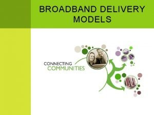 BROADBAND DELIVERY MODELS THREE MODELS Private Sector Municipal