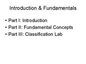 Introduction Fundamentals Part I Introduction Part II Fundamental