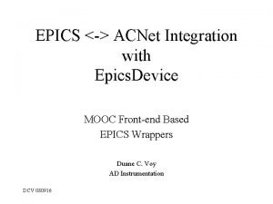 EPICS ACNet Integration with Epics Device MOOC Frontend