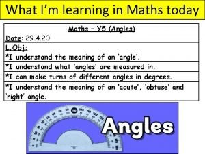 What Im learning in Maths today Maths Y