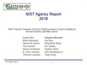 NIST Agency Report 2019 NIST Sensor Science Division