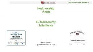 EU Food Security Resilience Healthrealetd Threats EU food
