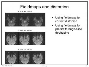 Fieldmaps and distortion Using fieldmaps to correct distortion