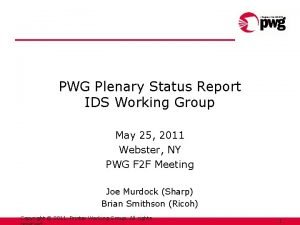 PWG Plenary Status Report IDS Working Group May