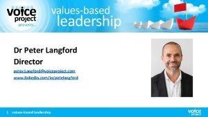 Dr Peter Langford Director peter Langfordvoiceproject com www