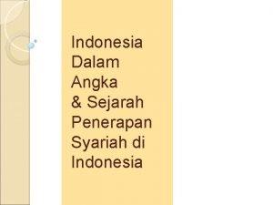 Indonesia Dalam Angka Sejarah Penerapan Syariah di Indonesia