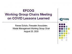EFCOG Working Group Chairs Meeting on COVID Lessons