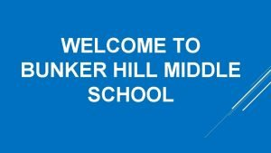 WELCOME TO BUNKER HILL MIDDLE SCHOOL Home of