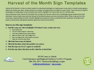 Harvest of the Month Sign Templates Harvest of