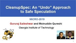 Cleanup Spec An Undo Approach to Safe Speculation