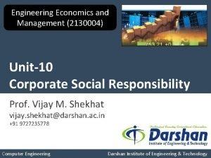 Engineering Economics and Management 2130004 Unit10 Corporate Social