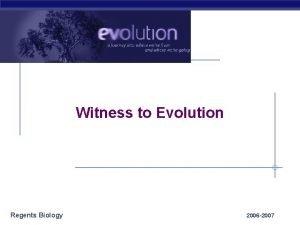 Witness to Evolution Regents Biology 2006 2007 Witness