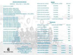 FECHAS CURSOS DE VERANO HORARIOS 10 00 a