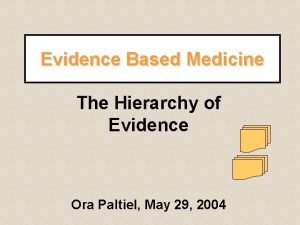 Evidence Based Medicine The Hierarchy of Evidence Ora
