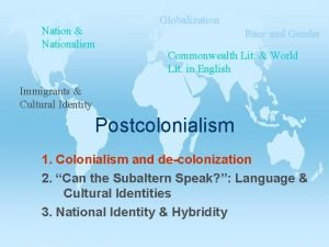 Nation Nationalism Globalization Race and Gender Commonwealth Lit