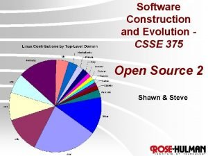 Software Construction and Evolution CSSE 375 Open Source