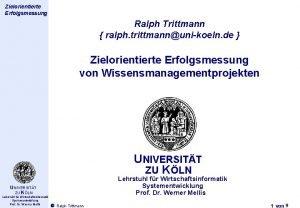 Thema des Zielorientierte Vortrags Erfolgsmessung Ralph Trittmann ralph