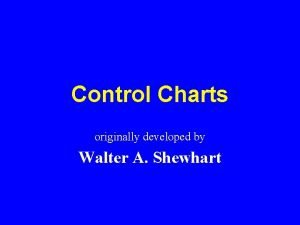 Control Charts originally developed by Walter A Shewhart