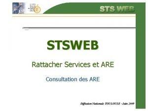 STSWEB Rattacher Services et ARE Consultation des ARE