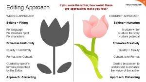 Editing Approach WRONG APPROACH Editing Fixing Fix language