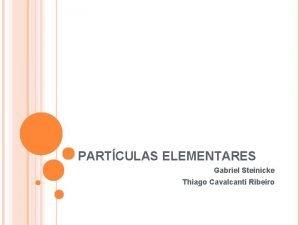 PARTCULAS ELEMENTARES Gabriel Steinicke Thiago Cavalcanti Ribeiro PONS