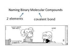 Naming Binary Molecular Compounds 2 elements covalent bond